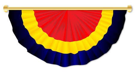 semicircle: Black yellow and red bunting over a white background Illustration