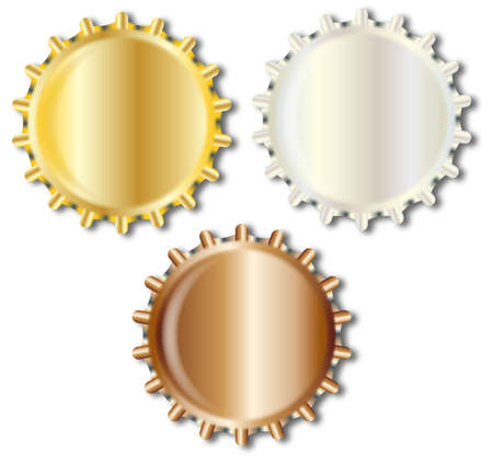 copper: Typical metal glass bottle caps in gold silver and copper