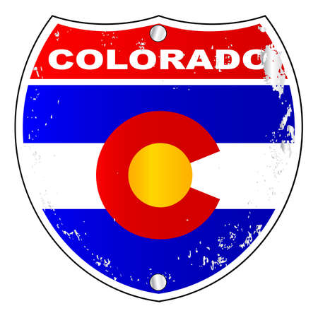 colorado flag: Colorado interstate sign with flag cross over a white background Illustration