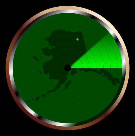 The screen of a typical radar device in green sweeping over Alaska