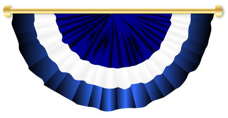 on white: Blue and white bunting over a white background
