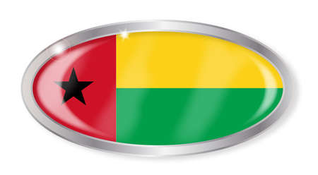 guinea bissau: Oval silver button with the Guinea Bissau flag isolated on a white background Illustration