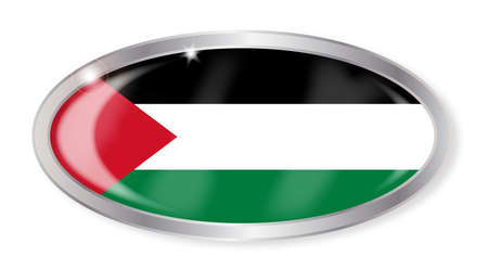 palestine: Oval silver button with the Palestine flag isolated on a white background