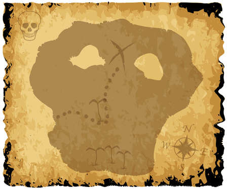 coastline: A parchment background with outlines of an old pirate treasure map