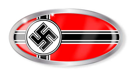 nazi flag: Oval silver button with the Nazi flag isolated on a white background Illustration