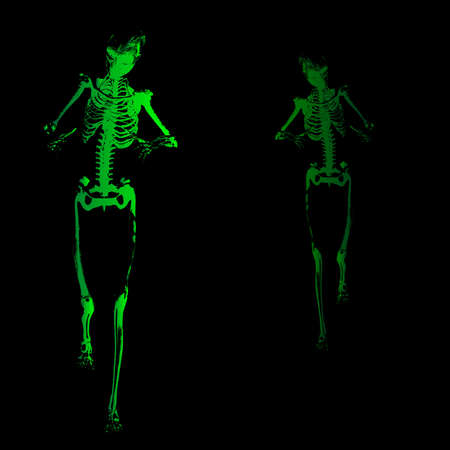 terrifying: A green skeleton with outstretched arms all over a black background Illustration
