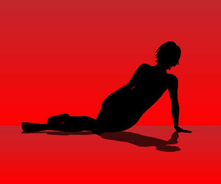 resting: A female model resting on the floor set against a red background