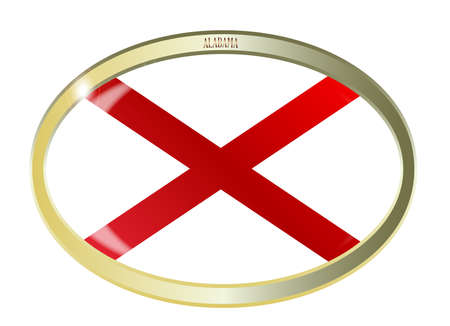 alabama flag: Oval metal button with the Alabama flag isolated on a white background Illustration