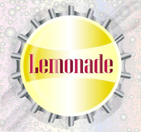 bubble background: A lemonade bottle cap with a cola type bubble background Vettoriali