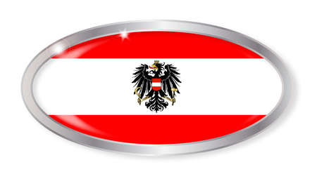 austrian: Oval silver button with the Austrian flag isolated on a white background
