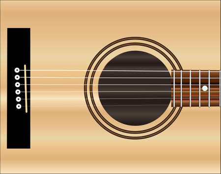 frets: A typical acoustic guitar sound hole and board with strings Illustration