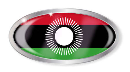 malawi flag: Oval silver button with the Malawi flag isolated on a white background