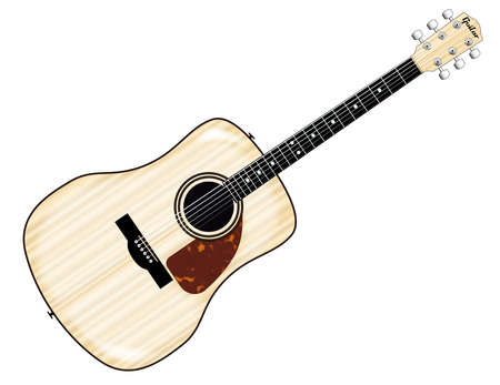 fingerboard: A typical acoustic guitar isolated over a white background. Illustration