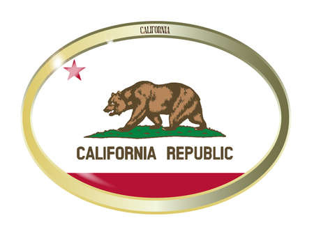 california flag: Oval metal button with the California flag isolated on a white background
