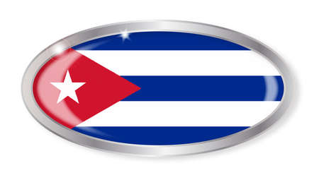 cuban flag: Oval silver button with the Cuban  flag isolated on a white background Illustration