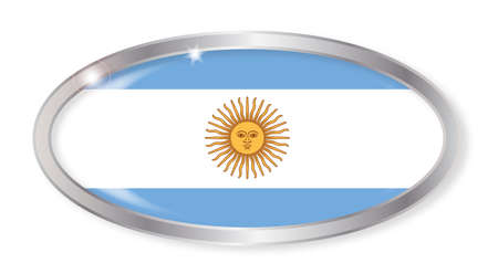 argentina flag: Oval silver button with the Argentina flag isolated on a white background Illustration