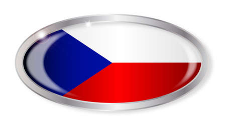 czech republic flag: Oval silver button with the Czech Republic flag isolated on a white background