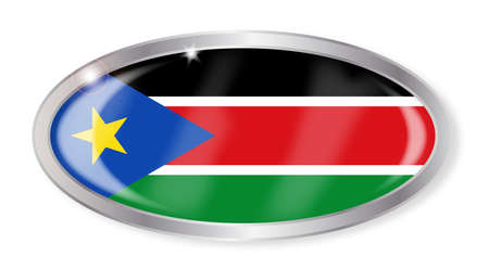 south sudan: Oval silver button with the South Sudan flag isolated on a white background
