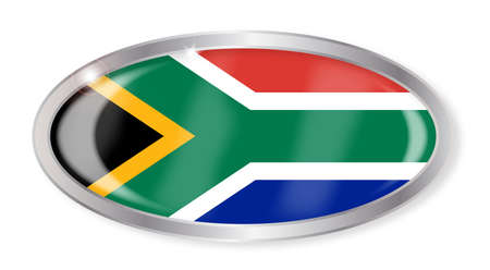 south africa flag: Oval silver button with the South Africa flag isolated on a white background