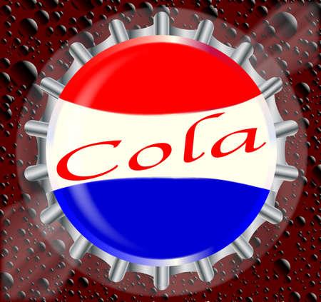cola bottle: A Cola bottle cap with a bubble background Illustration