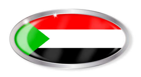 sudan: Oval silver button with the Sudan flag isolated on a white background Illustration