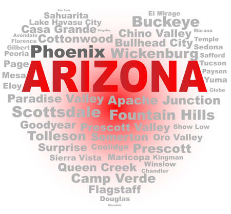 phoenix arizona: A cartoon heart shape with the text Arizona and the names of the major cities over a white background