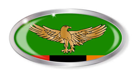 zambian flag: Oval silver button with the Zambia flag isolated on a white background Illustration