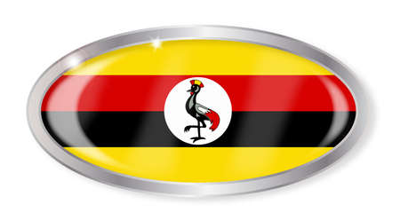 oeganda: Oval silver button with the Uganda flag isolated on a white background