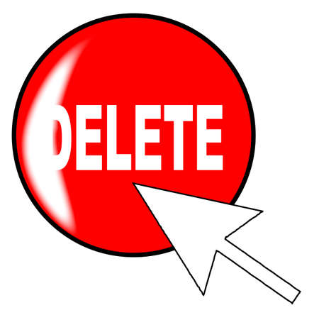 delete icon: A computer delete icon with generic pointer arrow over a white background Illustration