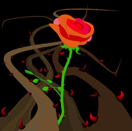 いばらとブライアーズ成長と赤いバラと  イラスト・ベクター素材