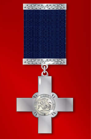 awarded: The George Cross medal awarded for exceptional bravery to both the military and civilians Illustration