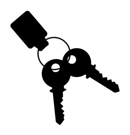 key fob: Two house keys with ring and fob isolated on a white background Illustration