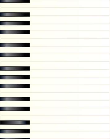 Black and white piano keys extended to a page width Illustration