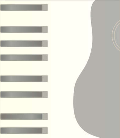 forte: Piano keys extended to a page width with a guitar body
