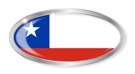 bandera de chile: Bot�n de plata oval con la bandera de Chile aislado en un fondo blanco