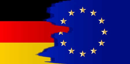 Flag of the European Union blended with the flag of Germany Çizim