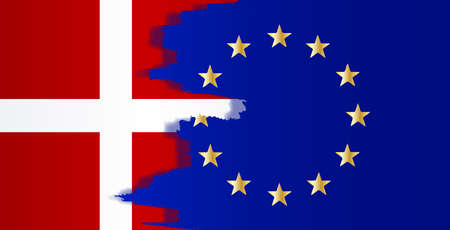 common market: Flag of the European Union blended with the flag of Denmark Illustration