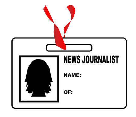 credentials: A black and white press identity badge with red ribbon Illustration