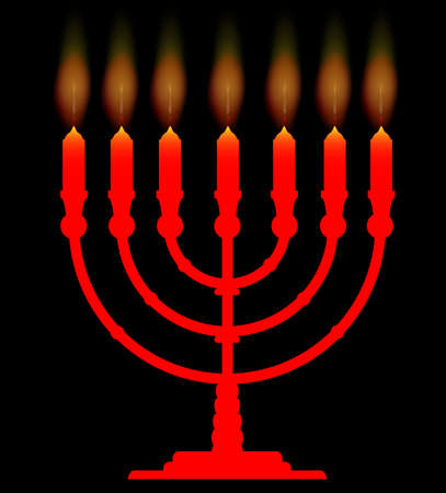 hanukka: A menorah with seven lit candles over a black background