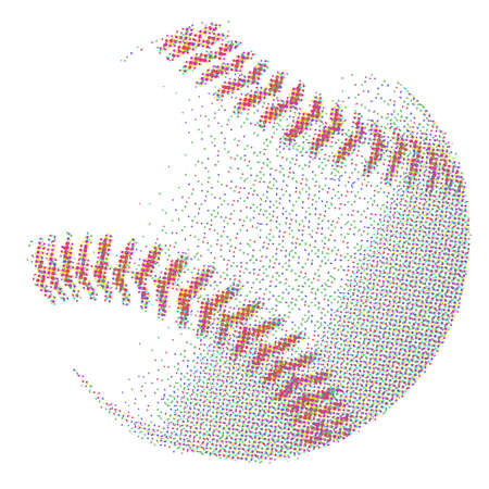 half tone: A baseball in half tone over a white background
