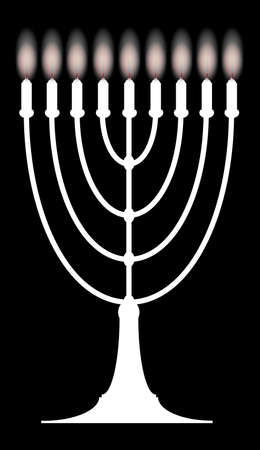 hanukah: A menorah with nine lit candles over a black background