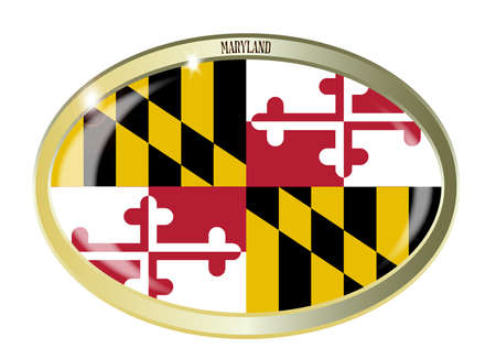 maryland flag: Oval metal button with the Maryland flag isolated on a white background Illustration