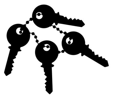 fob: A bunch of four keys and a chain over a white background
