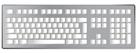 shortcuts: A computer keyboard with blank keys ready for personal shortcuts or tect Illustration