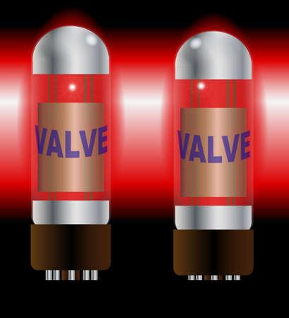 guitar amplifier: Two red hot guitar amplifier valves