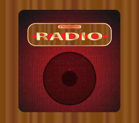 transitor: Una vieja radio de transistores de madera con parrilla y el altavoz