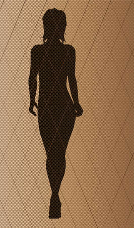fishnet: The stitch of a nylon fishnet stocking in brown with a fashion model silhouette