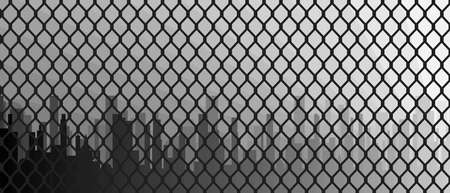 chainlink: A typical chain link fence patern with cityscape behind
