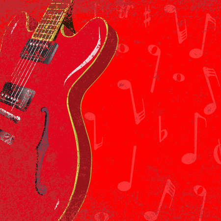venue: A red jazz guitar with musical notes and grunge