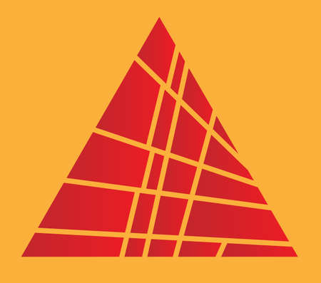 sectioned: A red pyramid sliced over an orange background